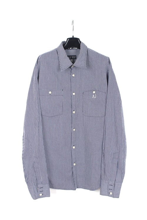 Armani jeans cotton check shirt (M~L)