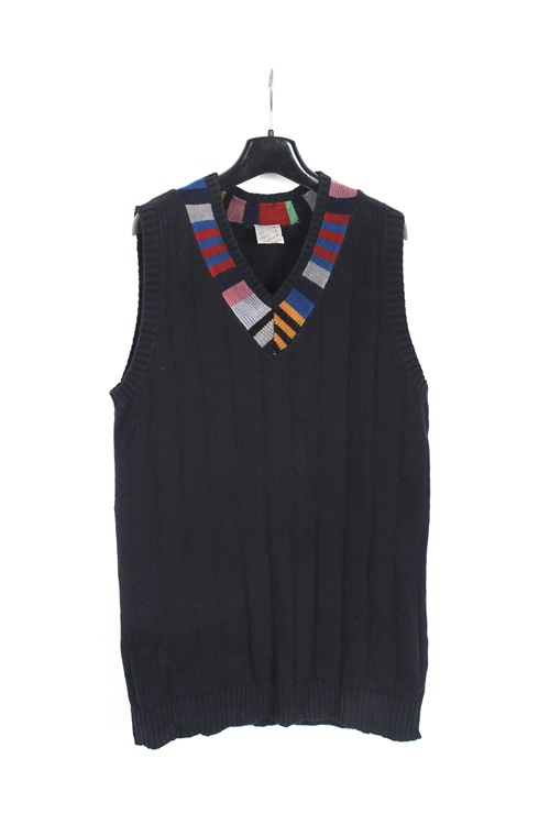 Vintage cotton knite detail vest (M)