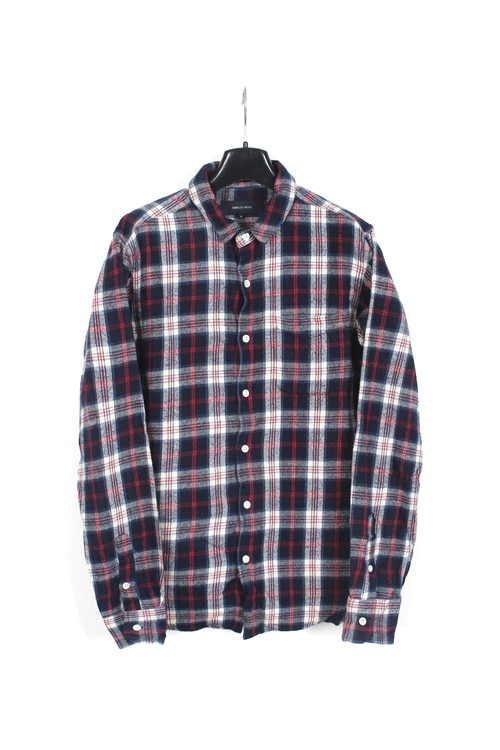 Ships jet Blue wire detail flannel cotton check shirt (M) (made in japan)