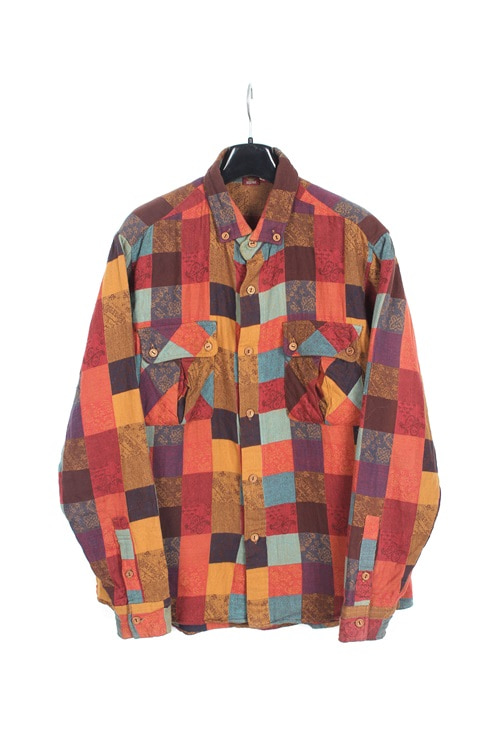 Garcons Wave multi check shirt (M~L)