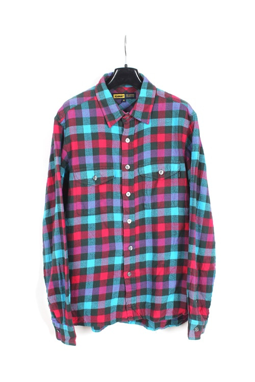 X-Large flannel check shirt (M) (made in japan)