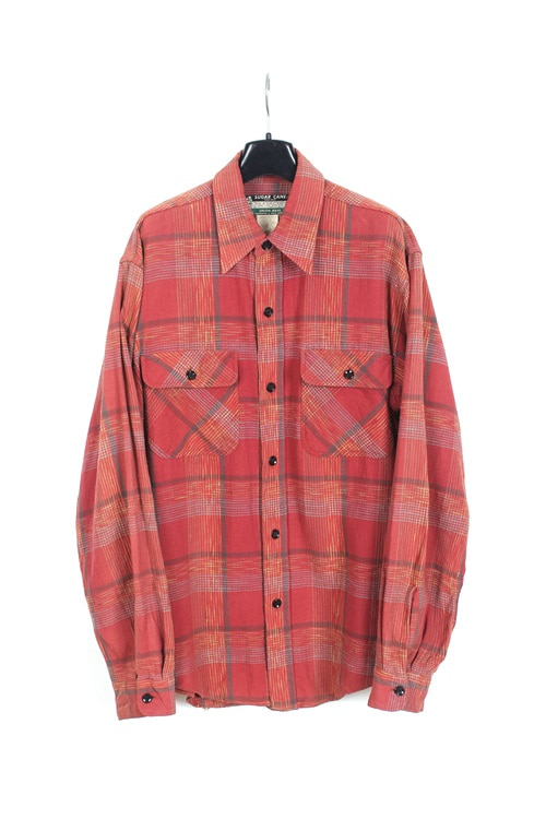 Sugar Cane cotton check shirt (M~L) (made in japan)