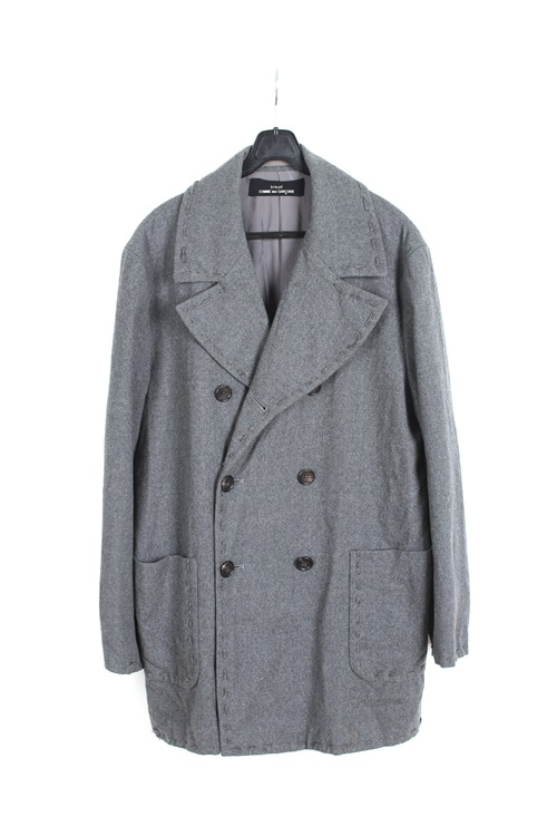Comme des Garcons tricot stich detail wool double coat (made in japan) (M~L)