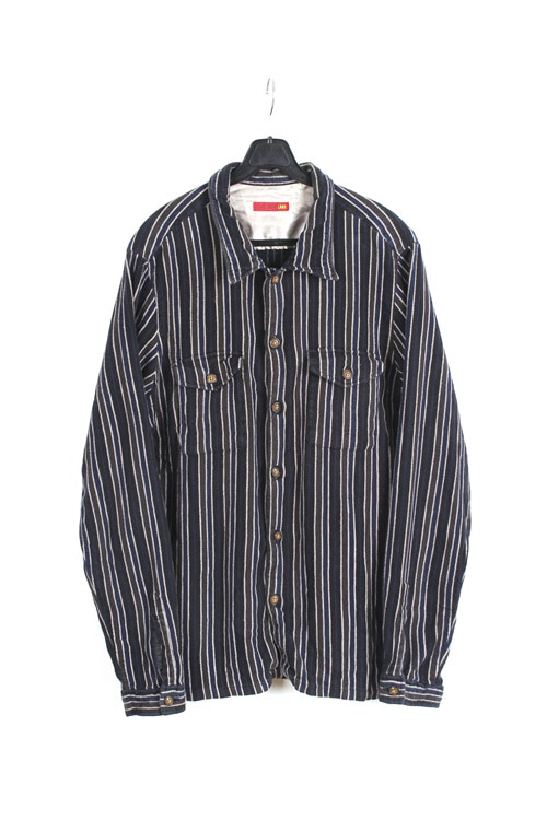 291295 homme pinstripe flannel shirt (M~L) (made in japan)