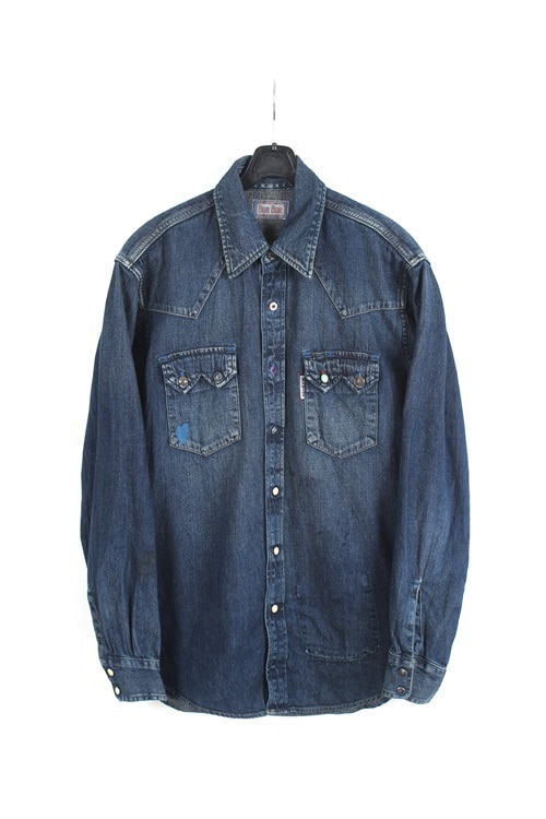 Blue Blue denim detail shirt (M) (made in japan)