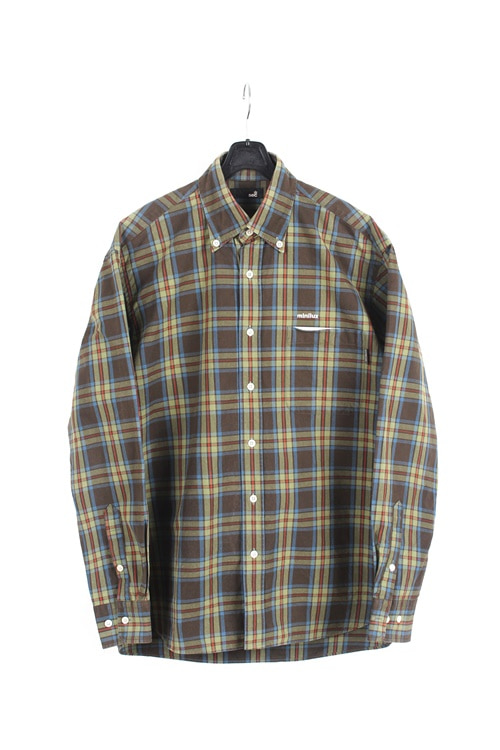 SEC cotton check shirt (M~L) (made in japan)