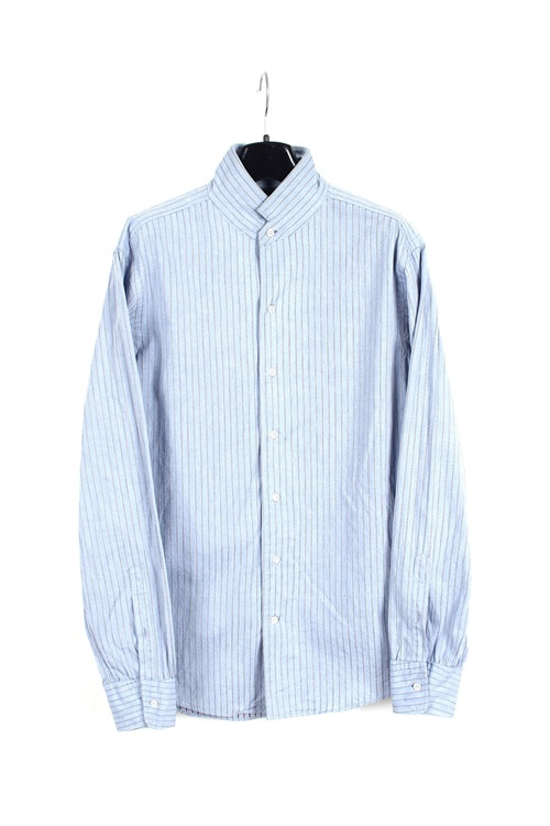 Ships pinstripe shirt (M) (made in japan)