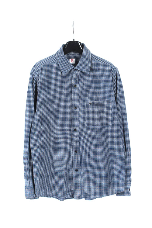 Dept cotton check shirt (M) (made in japan)