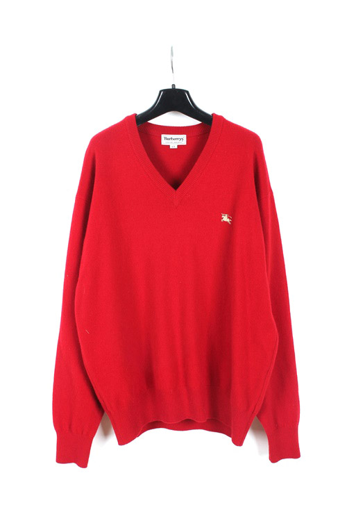 Burberrys lamswool v neck sweater (M~L) (made in japan)