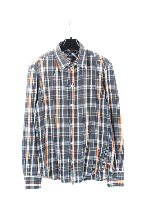 Ships cotton check shirt (M) (made in japan)