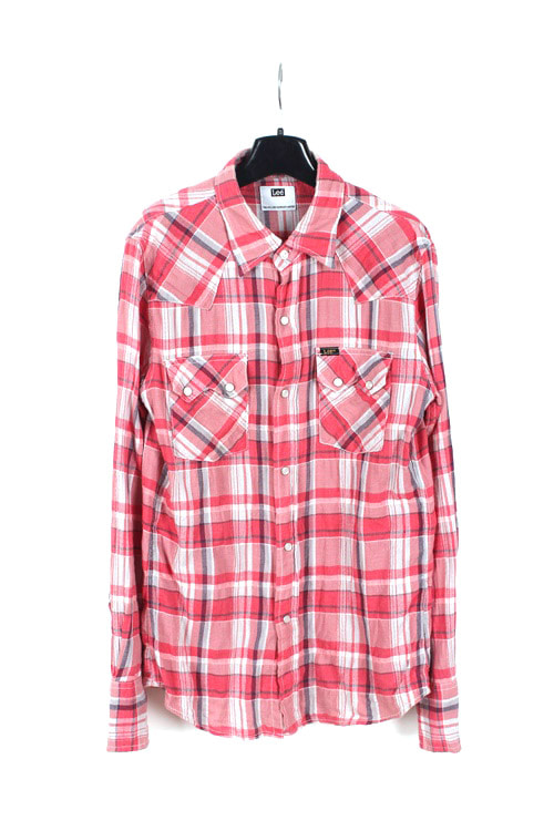 Lee western check shirt (M) (made in japan)