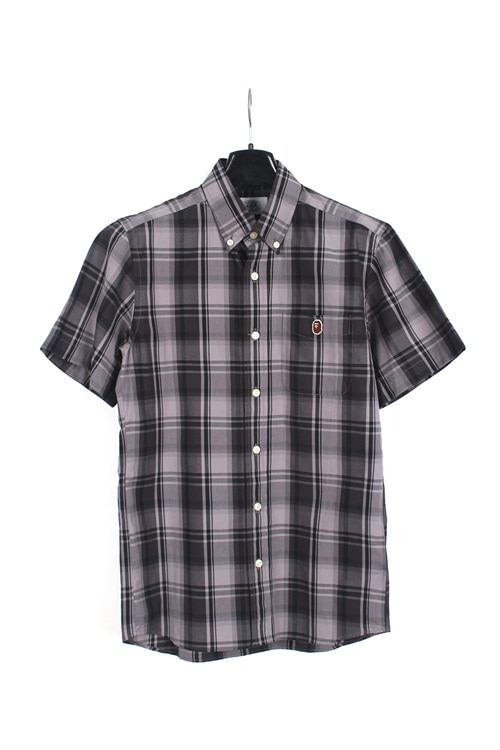 A Barhing Ape 1/2 cotton check shirt (S) (made in japan)